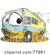 Royalty Free RF Clipart Illustration Of A Yellow Recreational Vehicle Driving Down A Road by Snowy #COLLC77981-0092