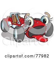 Royalty Free RF Clipart Illustration Of A Red Convertible Buggy Sport Car With An Exhausted Expression