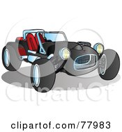 Royalty Free RF Clipart Illustration Of A Black Convertible Buggy Sport Car
