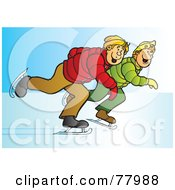 Royalty Free RF Clipart Illustration Of Two Blond Teenage Boys Ice Skating Together by Snowy