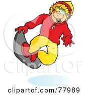 Royalty Free RF Clipart Illustration Of A Happy Blond Boy Snowboarding And Catching Air by Snowy