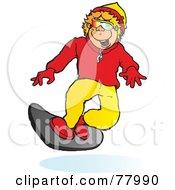 Royalty Free RF Clipart Illustration Of A Happy Blond Boy Snowboarding Slightly Left
