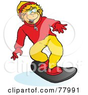 Royalty Free RF Clipart Illustration Of A Happy Blond Boy Snowboarding Forward by Snowy