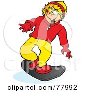 Royalty Free RF Clipart Illustration Of A Happy Blond Boy Snowboarding Slightly Right by Snowy