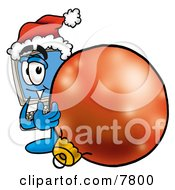 Desktop Computer Mascot Cartoon Character Wearing A Santa Hat Standing With A Christmas Bauble
