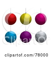 Royalty Free RF Clipart Illustration Of A Digital Collage Of Shiny Hanging Christmas Balls On White