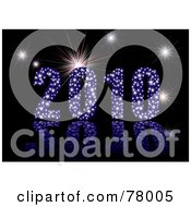 Royalty Free RF Clipart Illustration Of A 3d Blue Sparkly 2010 With Fireworks Over Black by michaeltravers