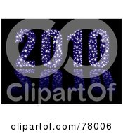Royalty Free RF Clipart Illustration Of A 3d Blue Sparkly 2010 With Stars On Black by michaeltravers