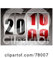 Royalty Free RF Clipart Illustration Of A Ticker With The Date Changing From 2009 To 2010 On Brushed Metal by michaeltravers