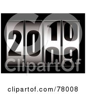 Royalty Free RF Clipart Illustration Of A Ticker With The Date Changing From 2009 To 2010 On Black by michaeltravers