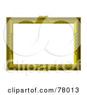 Royalty Free RF Clipart Illustration Of A White Text Box Framed With An Engraved Golden Frame by michaeltravers