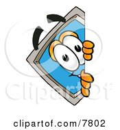Clipart Picture Of A Desktop Computer Mascot Cartoon Character Peeking Around A Corner by Toons4Biz