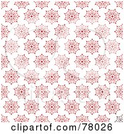 Royalty Free RF Clipart Illustration Of A Red Snowflake Or Floral Pattern Background On White by michaeltravers