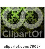 Royalty Free RF Clipart Illustration Of A Green And Black Floral Pattern Wallpaper Pattern Background With Dark Blending by michaeltravers
