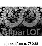 Royalty Free RF Clipart Illustration Of A Silver Tangled Patterned Background On Black With A Darkened Text Space