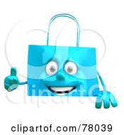Royalty Free RF Clipart Illustration Of A 3d Blue Shopping Bag Character Holding A Sign With A Thumb Up