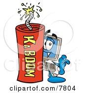 Desktop Computer Mascot Cartoon Character Standing With A Lit Stick Of Dynamite