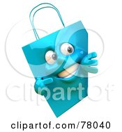 Royalty Free RF Clipart Illustration Of A 3d Blue Shopping Bag Character Smiling And Pointing To A Blank Sign
