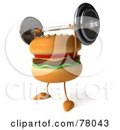 3d Cheeseburger Character Working Out With A Barbell