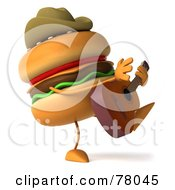 Royalty Free RF Clipart Illustration Of A 3d Cheeseburger Cowboy Character Playing A Guitar by Julos