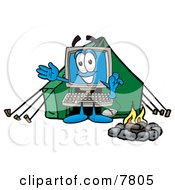 Desktop Computer Mascot Cartoon Character Camping With A Tent And Fire