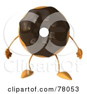 Royalty Free RF Clipart Illustration Of A 3d Chocolate Frosted Doughnut Character Standing by Julos