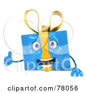 Royalty Free RF Clipart Illustration Of A 3d Blue Gift Character Presenting A Blank Sign Board Version 1 by Julos