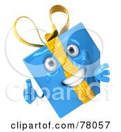Royalty Free RF Clipart Illustration Of A 3d Blue Gift Character Presenting A Blank Sign Board Version 2 by Julos