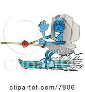 Desktop Computer Mascot Cartoon Character Waving While Water Skiing