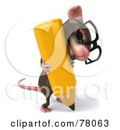 Royalty Free RF Clipart Illustration Of A 3d Mouse Character Wearing Glasses And Struggling With A Pencil