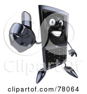 Royalty Free RF Clipart Illustration Of A Slim 3d Cellular Phone Character Holding A Thumb Up