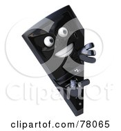 Royalty Free RF Clipart Illustration Of A Slim 3d Cellular Phone Character Looking Around A Sign