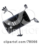 Royalty Free RF Clipart Illustration Of A Slim 3d Cellular Phone Character Doing A Hand Stand