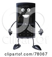 Royalty Free RF Clipart Illustration Of A Slim 3d Cellular Phone Character Facing Front