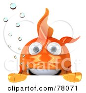 Royalty Free RF Clipart Illustration Of A 3d Goldfish Character With Bubbles Looking Over A Blank Sign Board