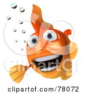 Royalty Free RF Clipart Illustration Of A 3d Goldfish Character With Bubbles Looking Around A Blank Sign Board by Julos