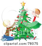 Royalty Free RF Clipart Illustration Of A Happy Brother And Sister Trimming A Christmas Tree With A Star And Baubles