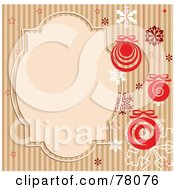 Royalty Free RF Clipart Illustration Of A Brown Striped Retro Background With Snowflakes Baubles And A Text Box