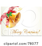 Royalty Free RF Clipart Illustration Of A Merry Christmas Greeting With Jingle Bells Holly And A Bow by Pushkin