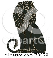 Royalty Free RF Clipart Illustration Of A Black And Tan Mature Majestic Male Lion Sitting