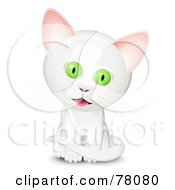Royalty Free RF Clipart Illustration Of A Sitting Curious White Kitten With Big Green Eyes