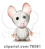 Royalty Free RF Clipart Illustration Of A Curious Standing Gray Mouse With Pink Ears