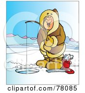Royalty Free RF Clipart Illustration Of A Happy Man Wearing A Coat And Ice Fishing On A Frozen Lake