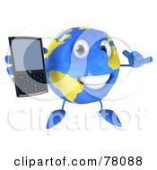 Royalty Free RF Clipart Illustration Of A 3d Blue And Yellow Globe Character Holding Out A Modern Cell Phone