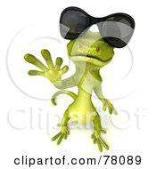 3d Gecko Character Waving And Wearing Shades