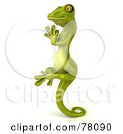 Royalty Free RF Clipart Illustration Of A 3d Gecko Character In Profile Meditating And Perched Up On His Tail