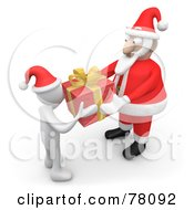 3d White Person Wearing A Santa Hat And Accepting A Gift From Kris Kringle
