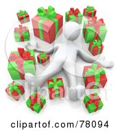 Royalty Free RF Clipart Illustration Of A 3d White Person Laying In A Crowd Of Red And Green Christmas Presents