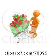 3d Orange Person Pushing A Shopping Cart Full Of Christmas Gifts