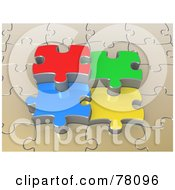 Royalty Free RF Clipart Illustration Of 3d Colorful Jigsaw Puzzle Pieces Popping Out Of A Beige Puzzle by 3poD